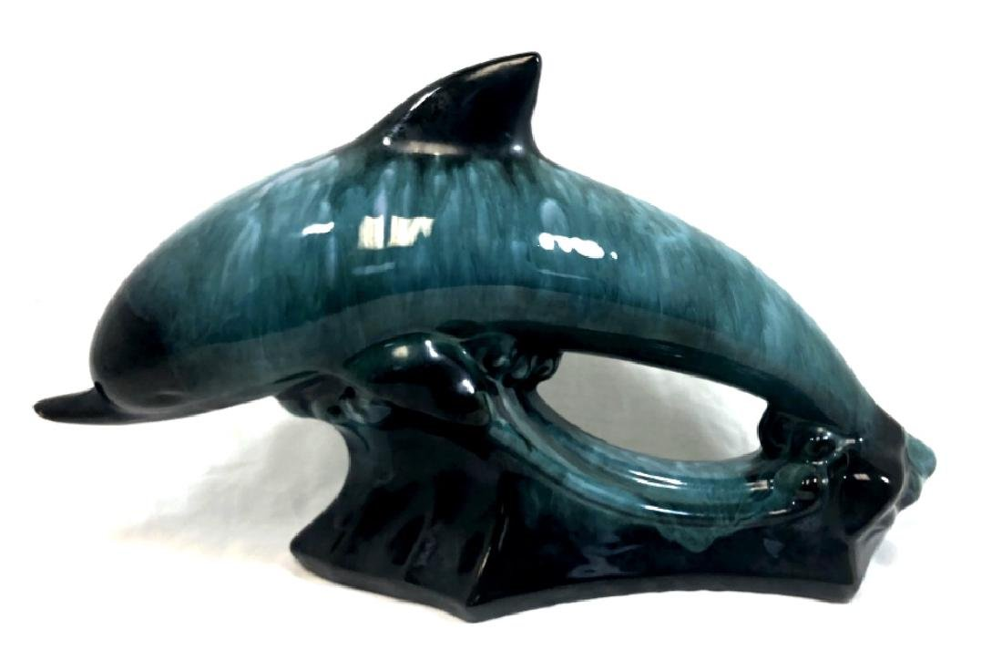 BEAUTIFUL GLAZED GREEN POTTERY DOLPHIN SCULPTURE