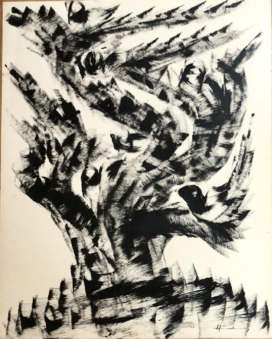 HANS HARTUNG ABSTRACT INDIA INK ON PAPER V$23,000