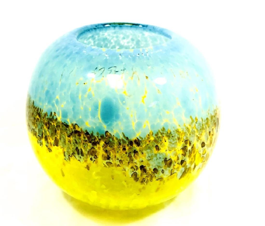 COOL MURANO YELLOW TO BLUE SPECK FISHBOWL VASE