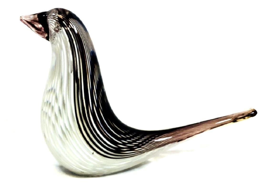 LAVENDAR AND PEARL STRIPE MURANO BIRD SCULPTURE