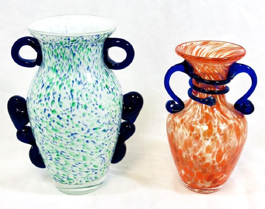 LOT OF 2 LOVELY HAND BLOWN ART GLASS HANDLE VASES