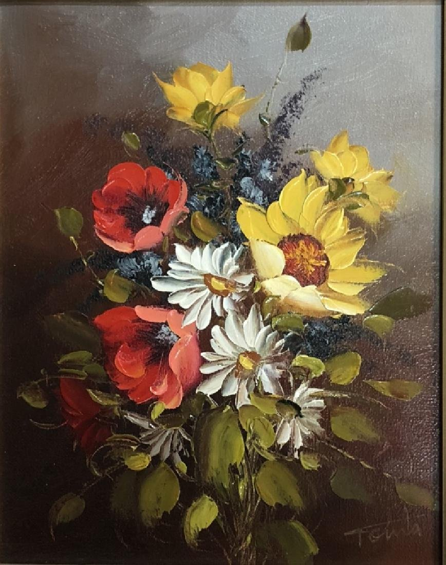 "SIGNED ""TONIA"" FLORAL OIL ON CANVAS"