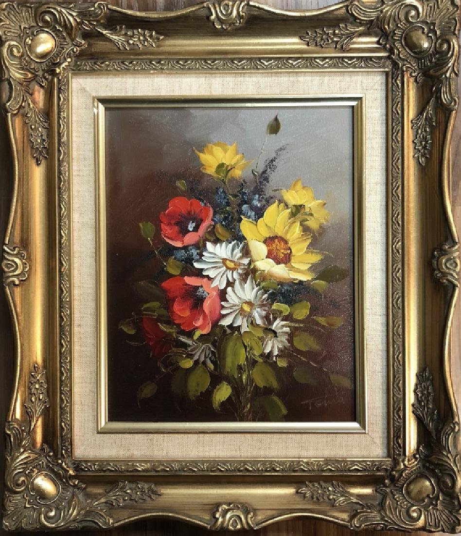 "SIGNED ""TONIA"" FLORAL OIL ON CANVAS - 2"