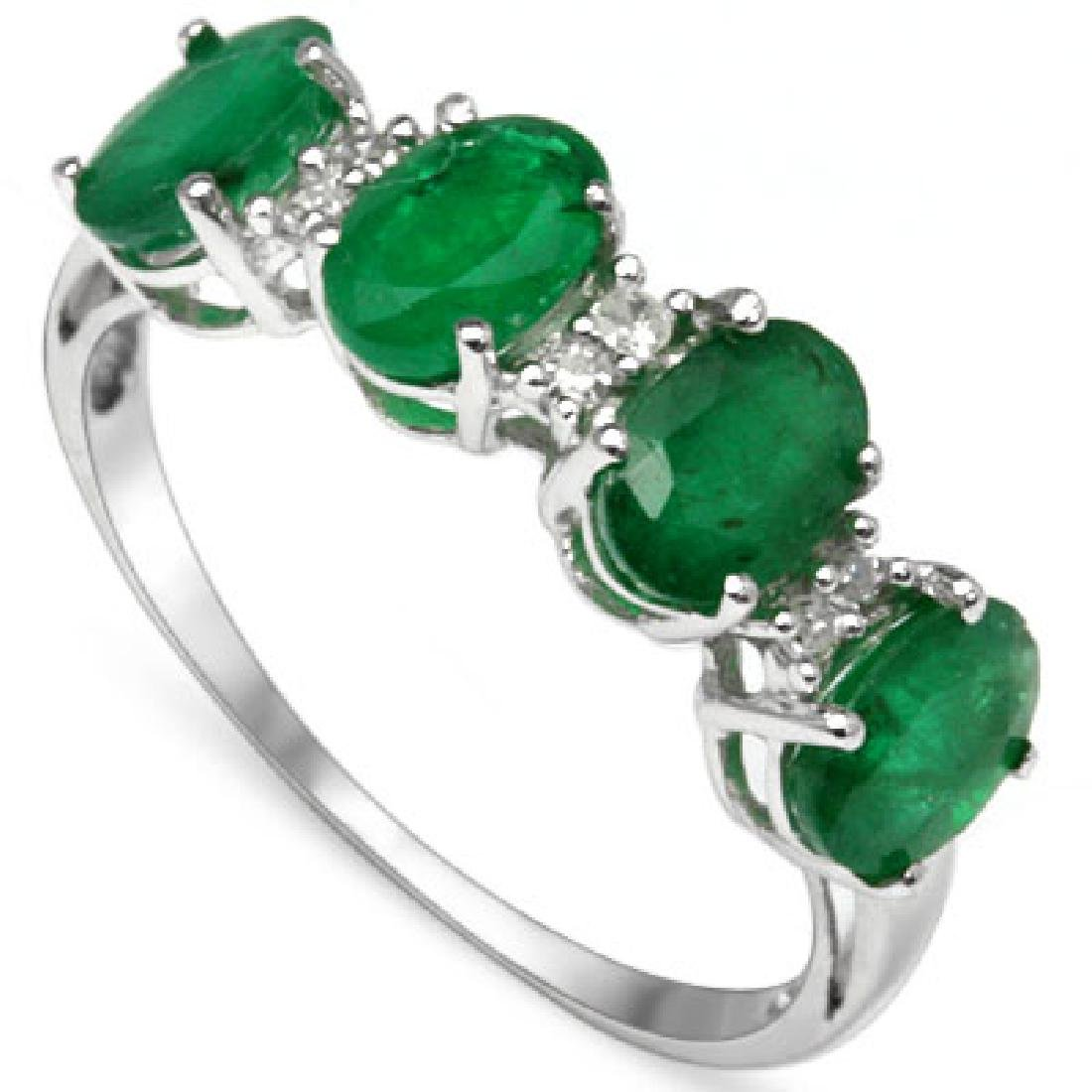 GORGEOUS 10K WHITE GOLD GENUINE 1CT EMERALD RING
