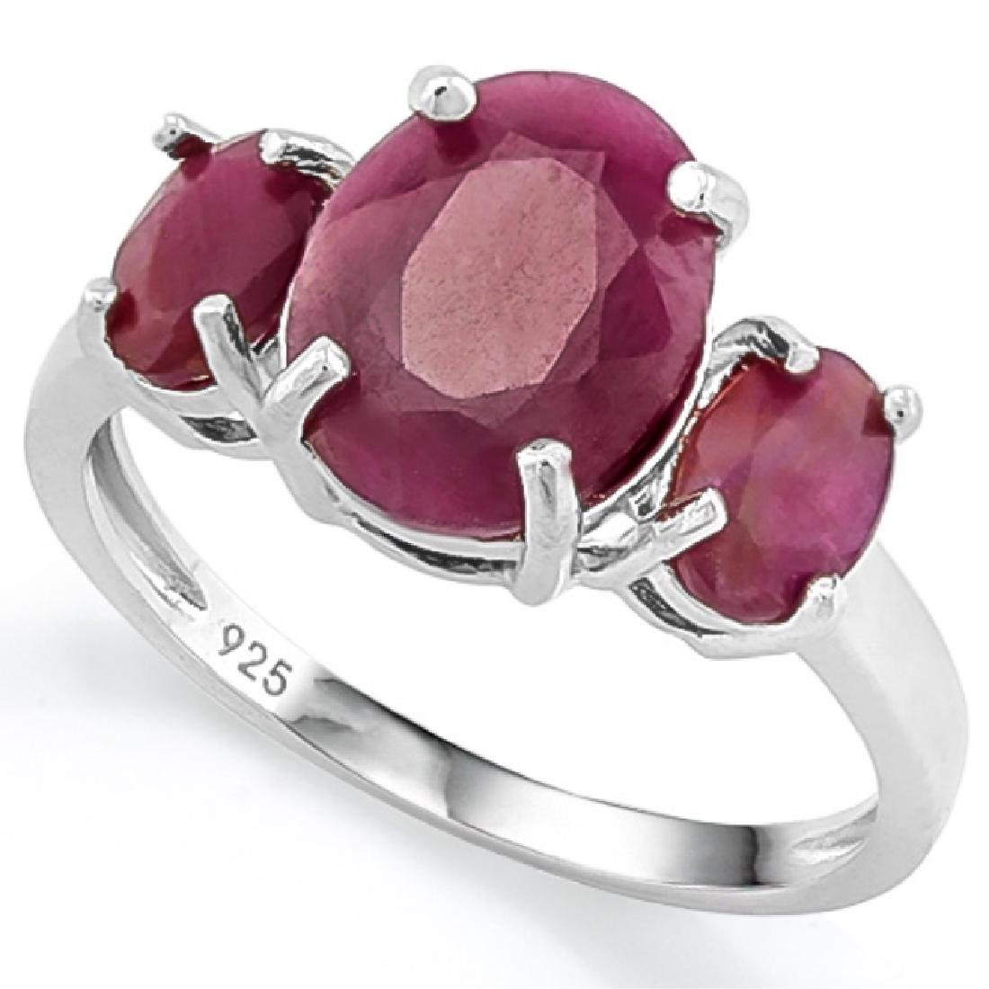 SUPERB 5CT RUBY PAST,PRESENT,FUTURE STERLING RING