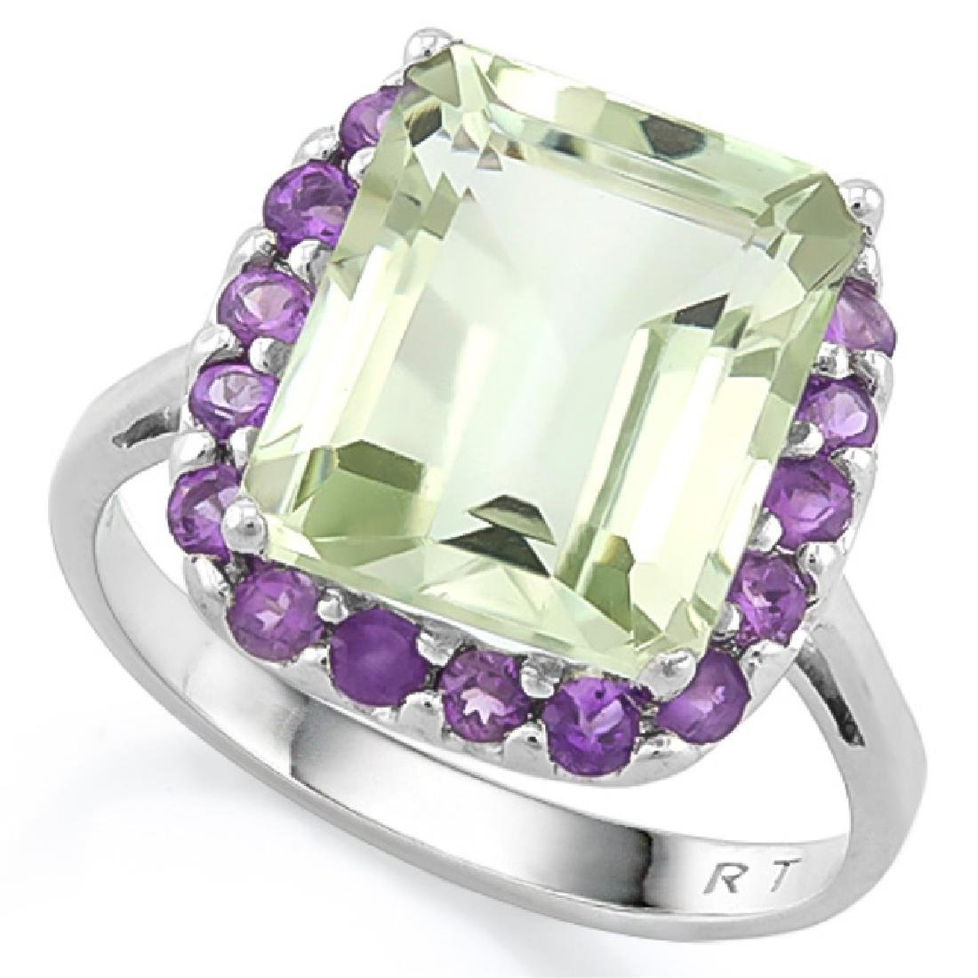 HUGE LAVENDAR AND GREEN AMETHYST 6CT STERLING RING