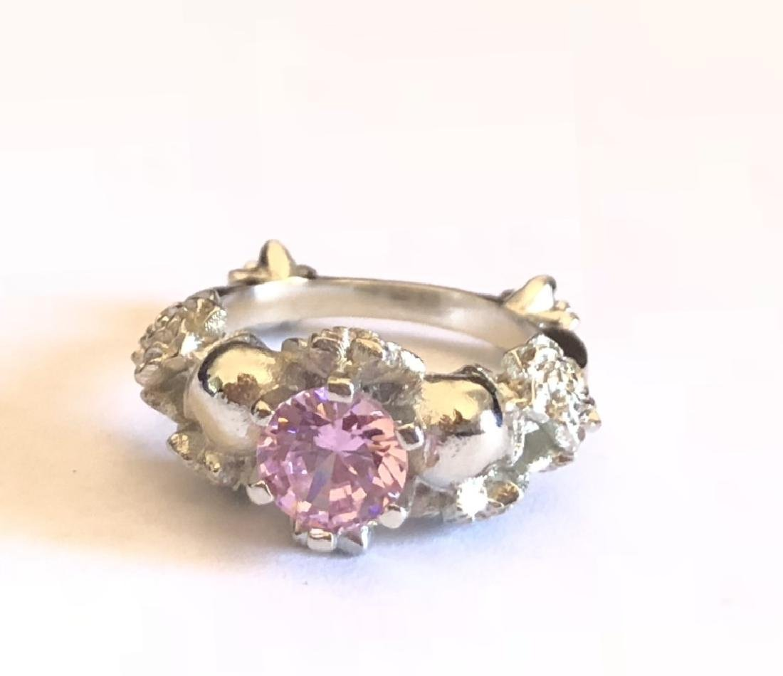 ELEGANT ROSE ACCENTS PINK TOPAZ FILIGREE RING
