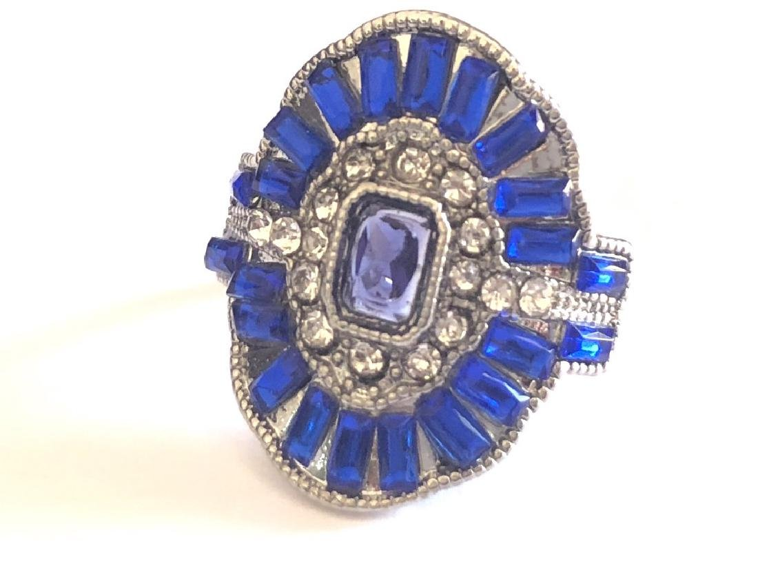 AMAZING BLUE AND WHITE TOPAZ ART DECO COCKTAIL RG