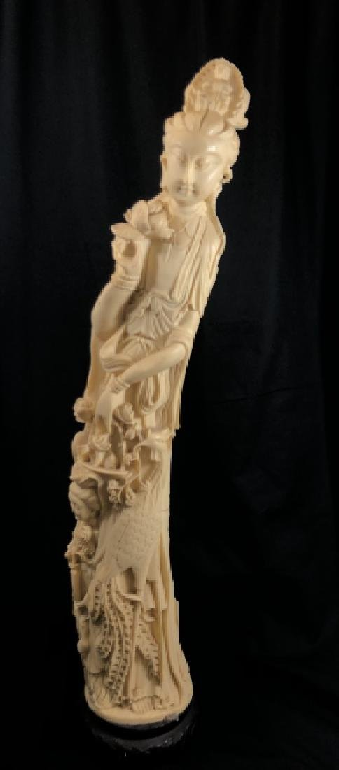INTRICATE VINTAGE ASIAN CARVED RESIN FIGURINE