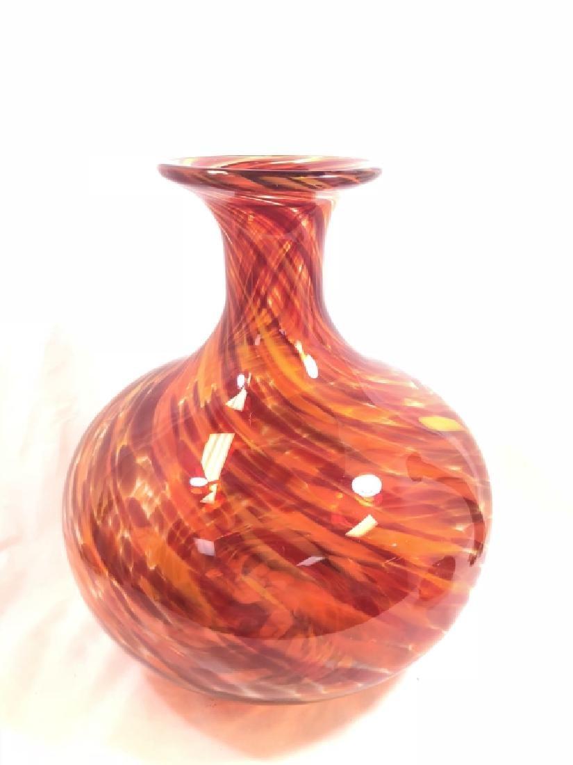 FABULOUS MURANO GLASS FIRE ORANGE/RED SWIRL VASE