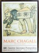 PENCIL SIGNED MARC CHAGALL EXHIBITION POSTER