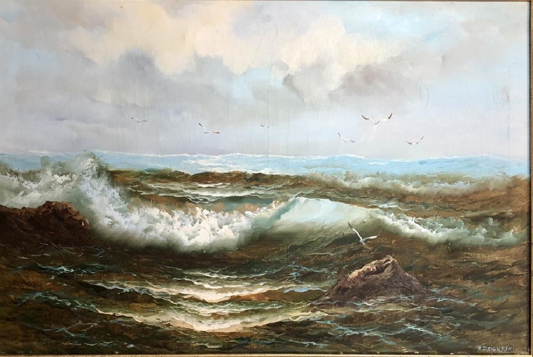 ALEXANDER DZIGURSKI OIL ON CANVAS SEASCAPE V$4,700