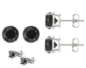 CLASSIC ROUND .50CT BLACK SAPPHIRE EARRINGS