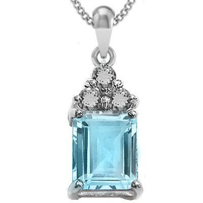 2CT EMERALD CUT SKY BLUE TOPAZ PENDANT NECKLACE
