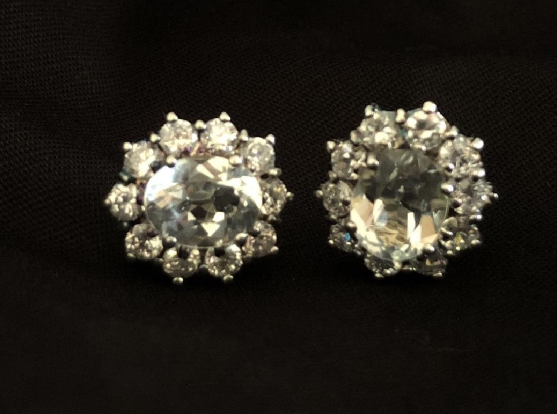 LOVELY 4CT WHITE TOPAZ STERLING DECO EARRINGS