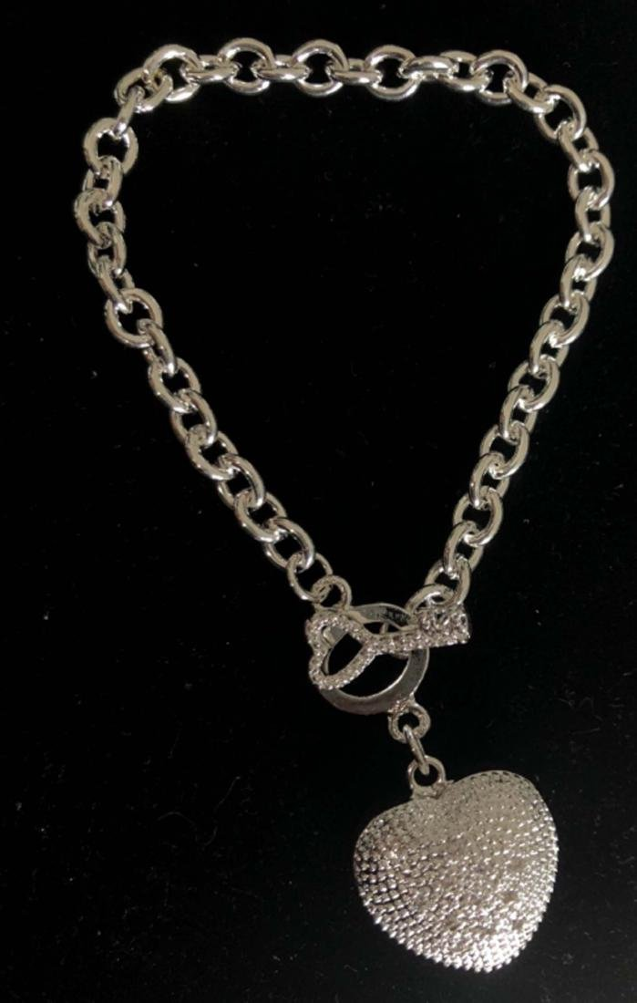 LADIES STERLING SILVER PUFF HEART CHARM BRACELET