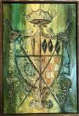 SIGNED V HOPKLE COAT OF ARMS ACRYLIC ON CANVAS