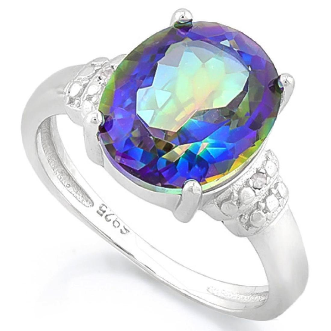 STUNNING 3CT OCEAN MYSTIC TOPAZ OVAL SET RING