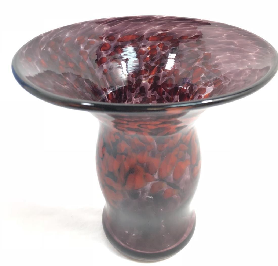 UNIQUE DEEP LAVENDAR/RED SPOT MURANO GLASS VASE