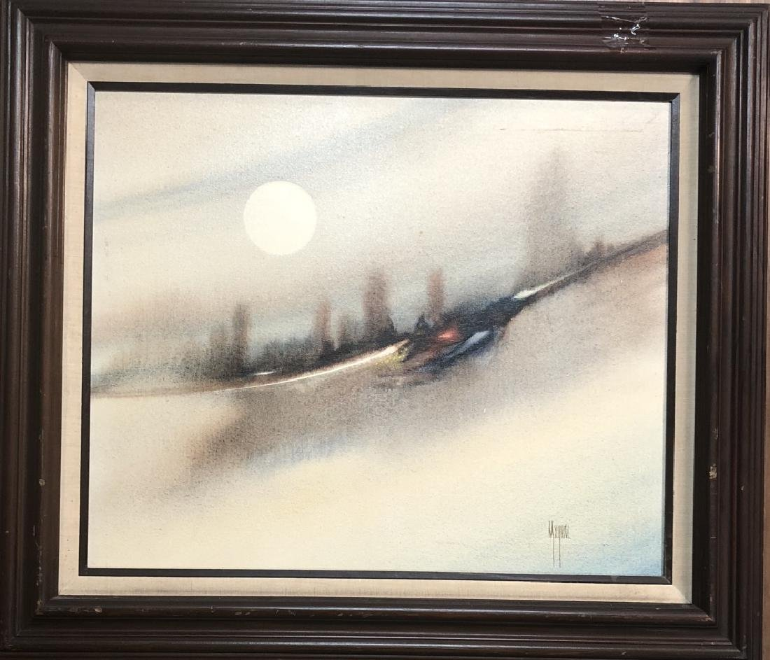 """SIGNED """"MEYERS"""" OIL ON CANVAS ABSTRACT PAINTING"""