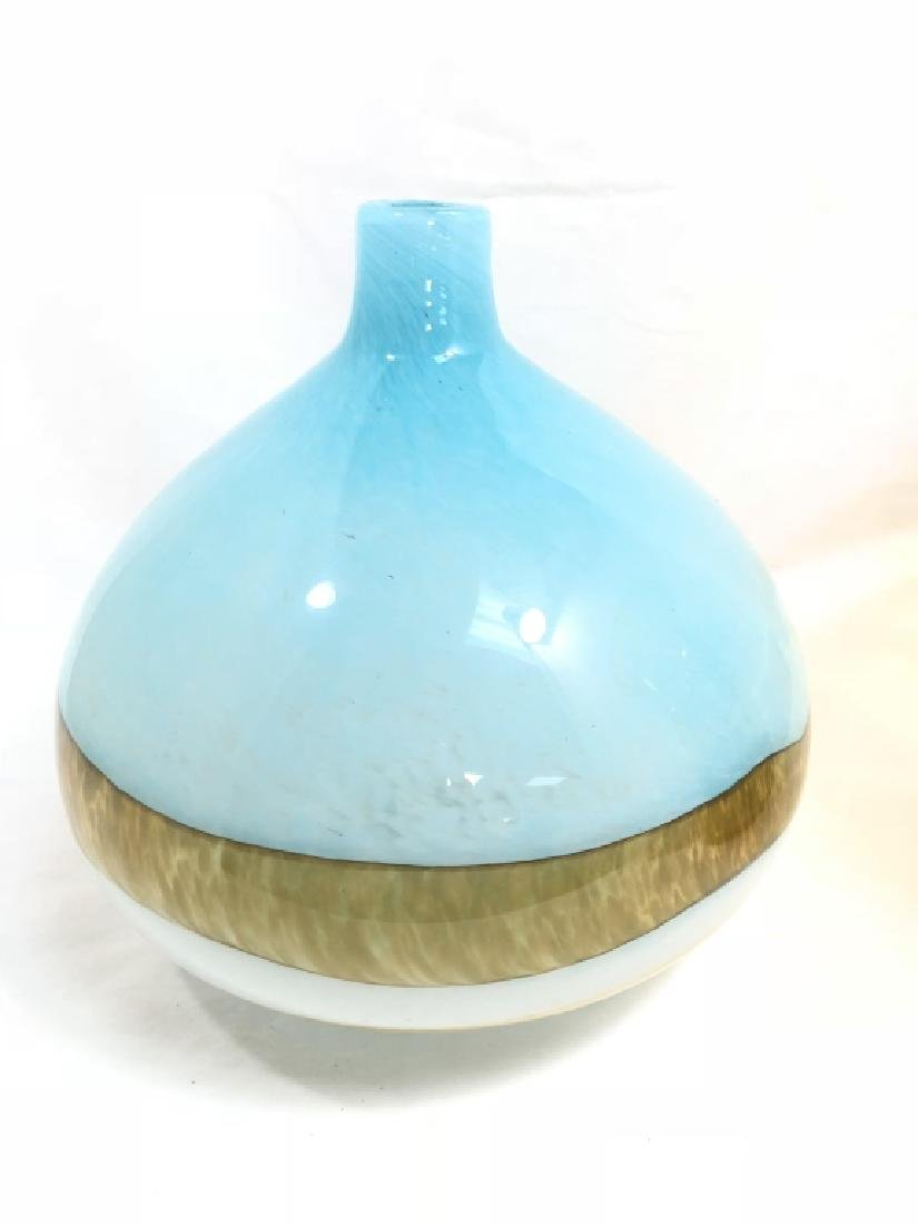 SPELNDID MURANO LIGHT BLUE DECO GALLERY VASE