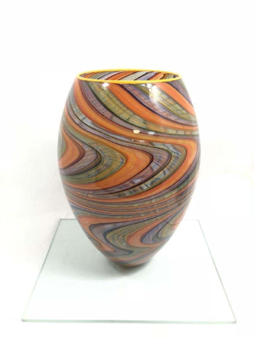 EXQUISITE MURANO MULTI COLOR SWIRL VASE W/BASE