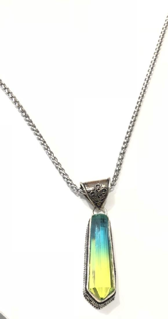 STUNNING PRISMATIC BLUE/GREEN CRYSTAL NECKLACE