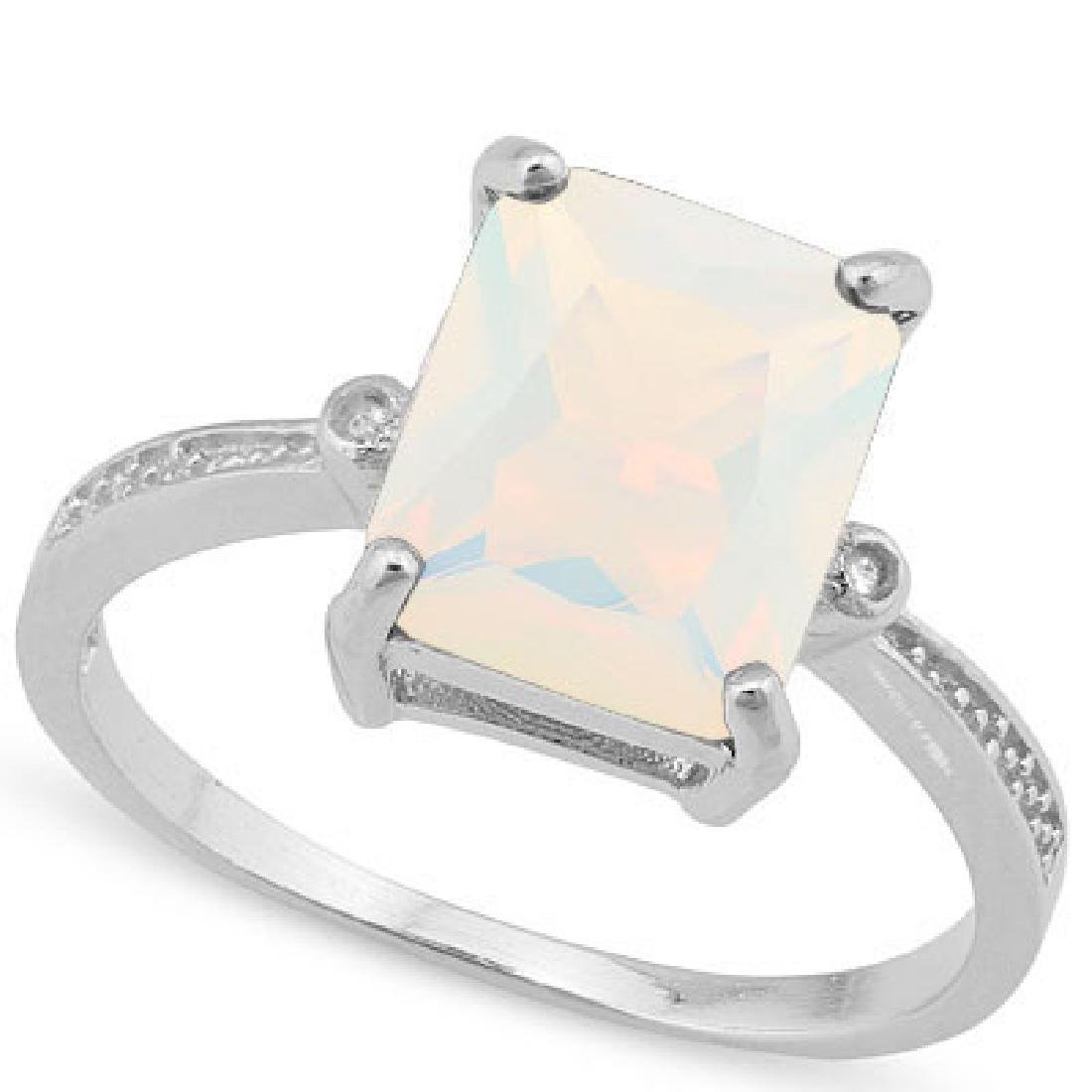 GLAM BAGUETTE CUT 2CT FIRE OPAL STERLING RING