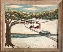SIGNED JIM IRVING ACRYLIC ON BOARD WINTERSCAPE