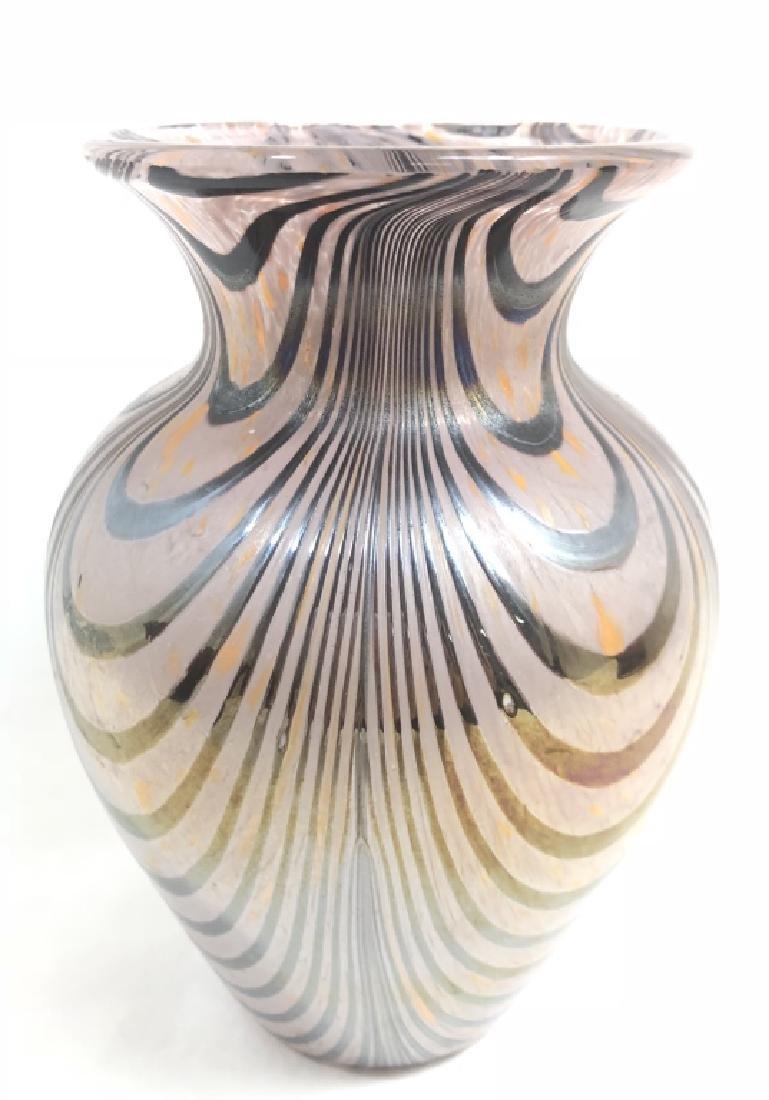 SUPERB VENETIAN GLASS HANDPAINTED IRRIDESCENT VASE