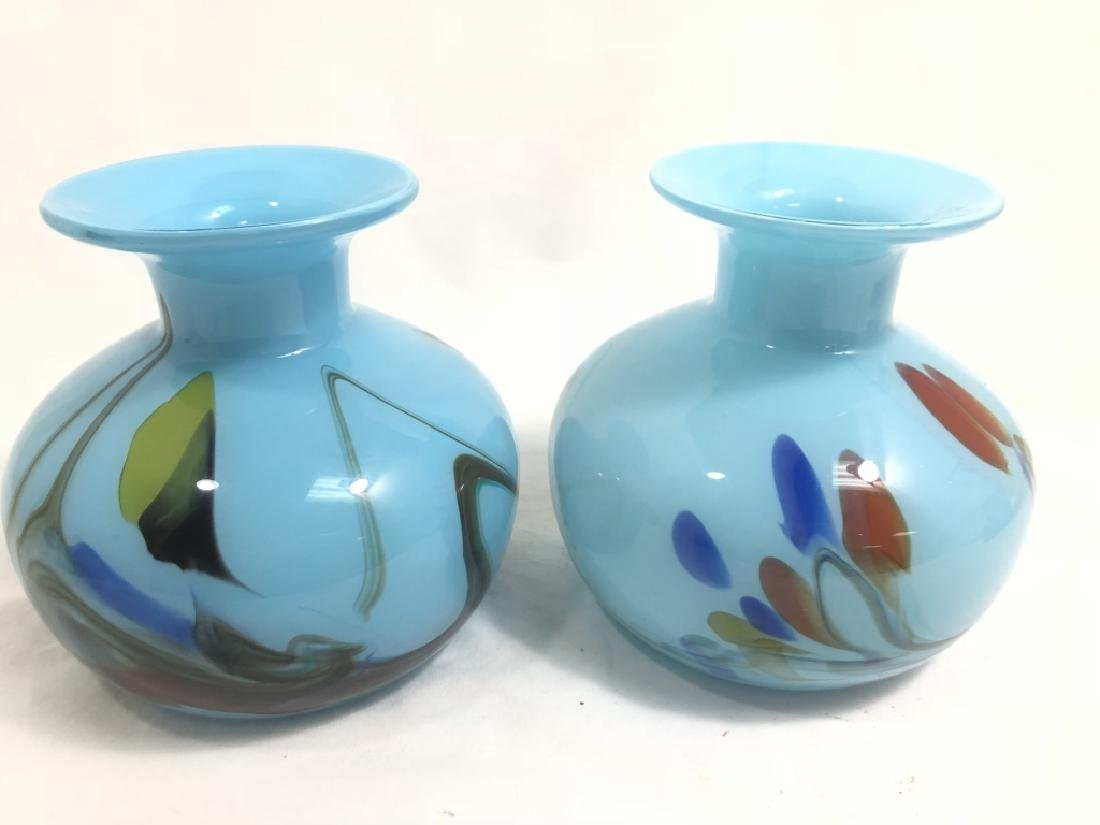 LOT OF 2 VINTAGE BABY BLUE MURANO ABSTRACT VASES