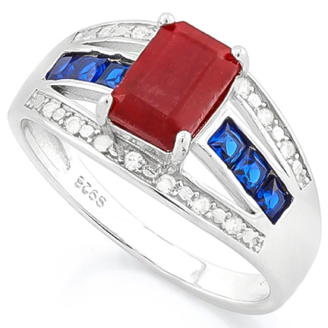 STERLING SILVER UNIQUE RUBY/SAPPHIRE DECO RING