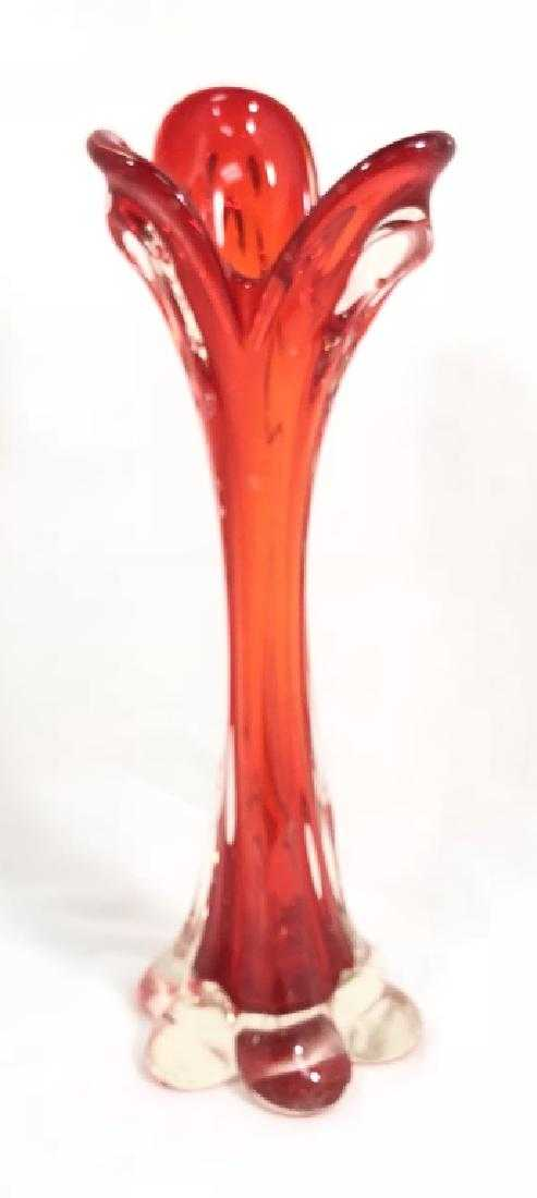 Vintage Bright Fire Orange Viking Glass Vase
