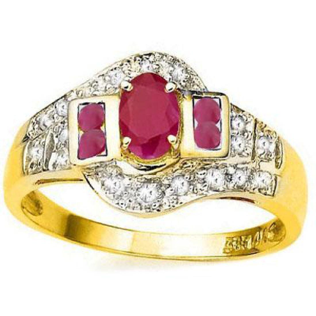 SMASHING 10K GOLD GENUINE RUBY/DIAMOND ESTATE RING