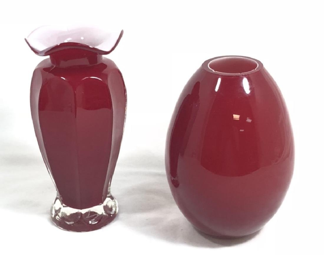 LOT OF 2 VINTAGE BRIGHT RED GLASS VASES