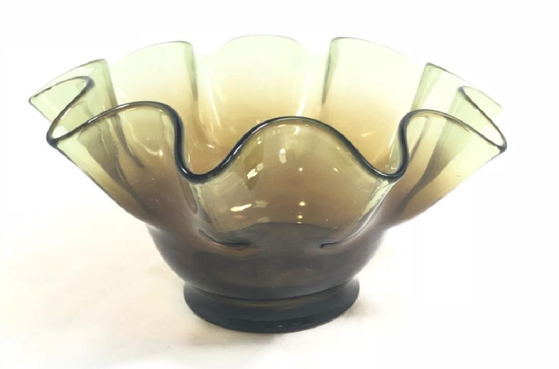 VINTAGE AMBER GLASS RUFFLE TOP SMALL BOWL
