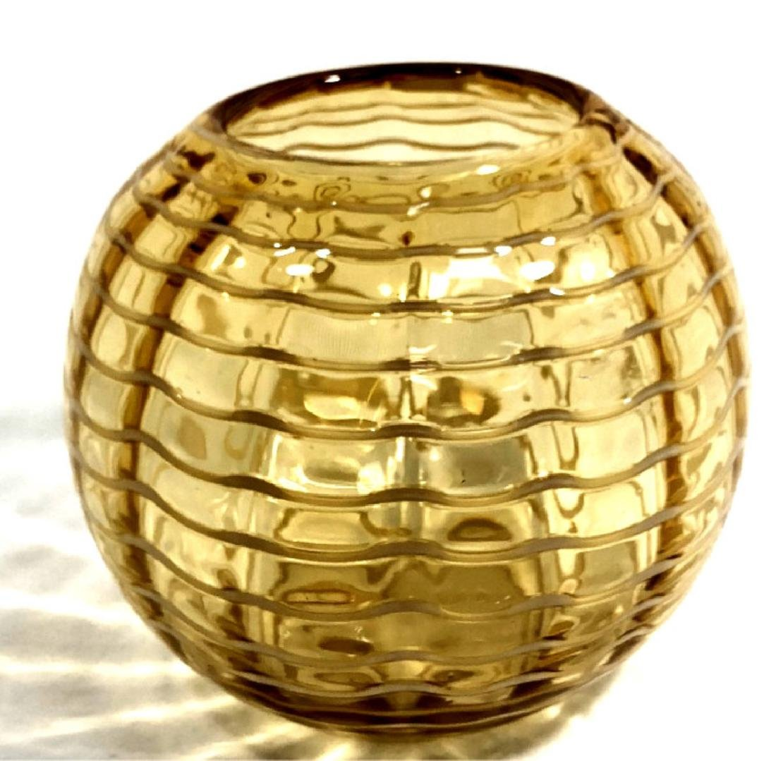 VINTAGE FISHBOWL AMBER GLASS WRAP MURANO VASE