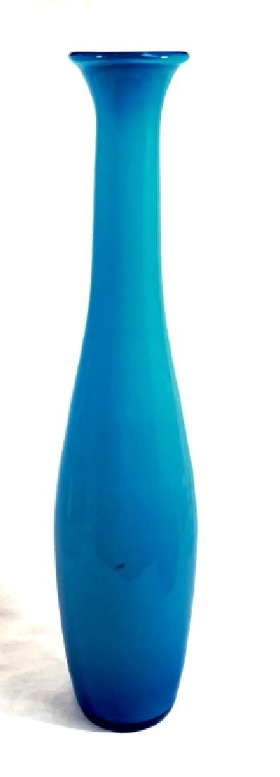 COOL BRIGHT BLUE TALL ART GLASS VASE