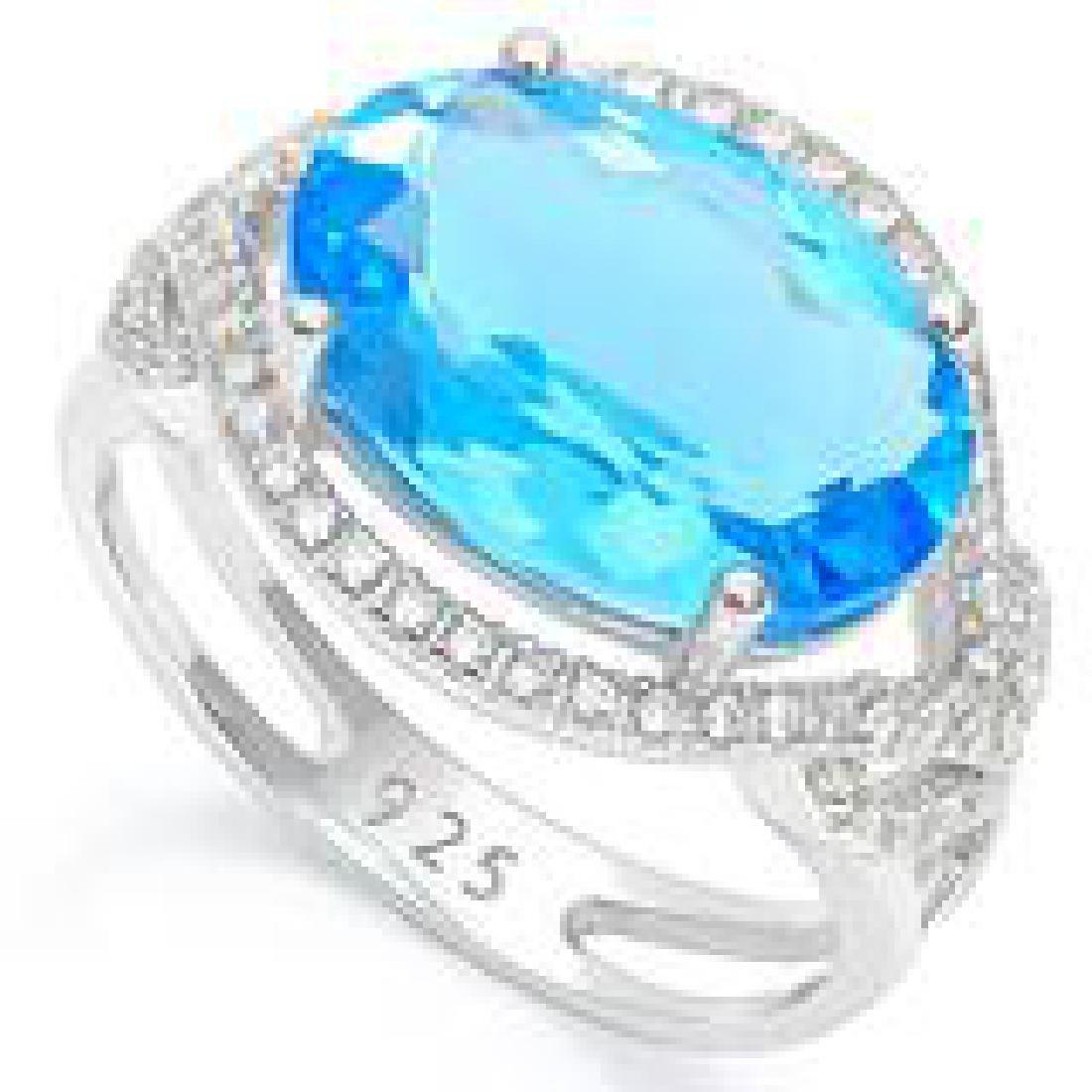 DAZZLING 6CT BLUE/WHITE QUART ART DECO COCKTAIL RING