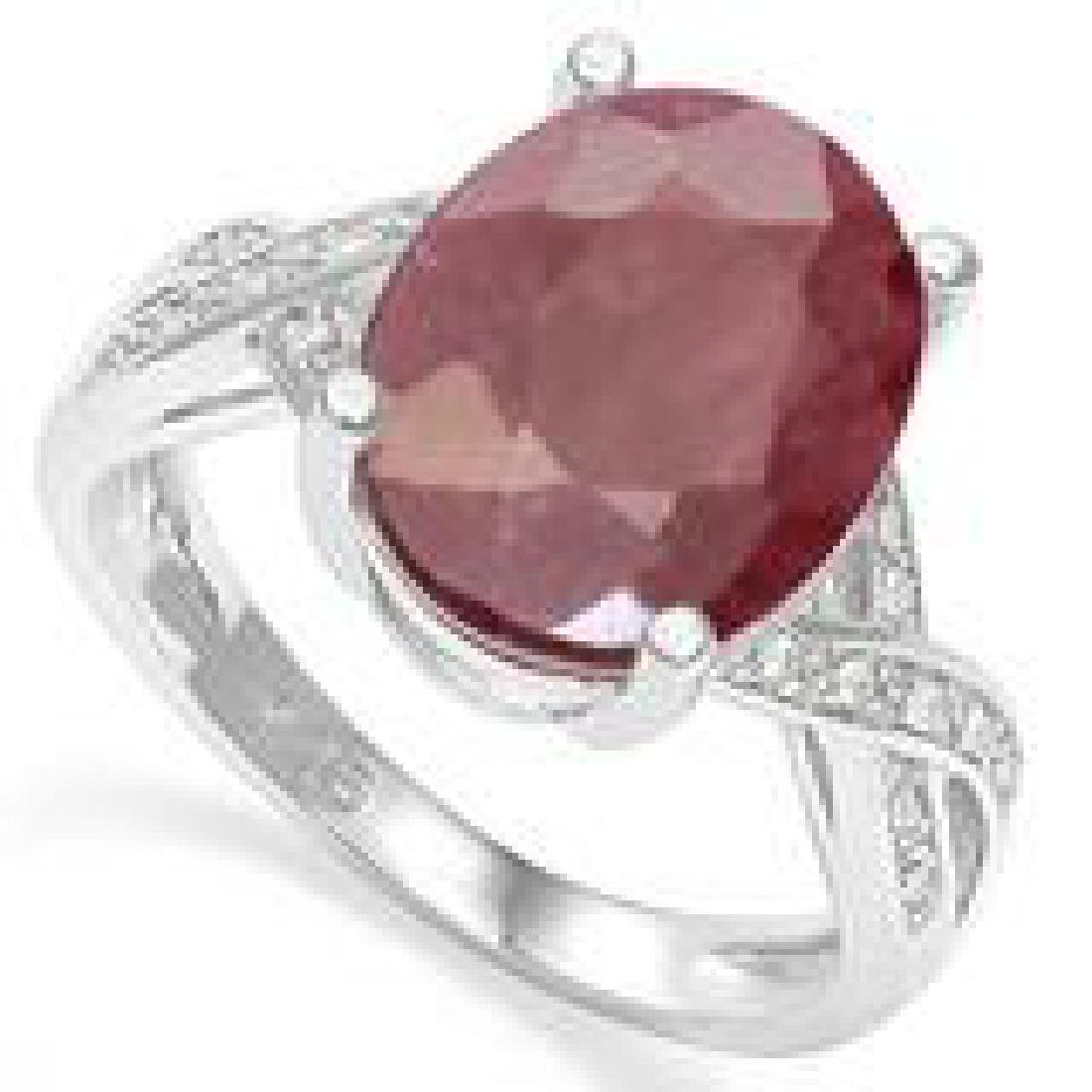 AMAZING 5CT OVAL GENUINE RUBY/WT SAPPHIRE RING
