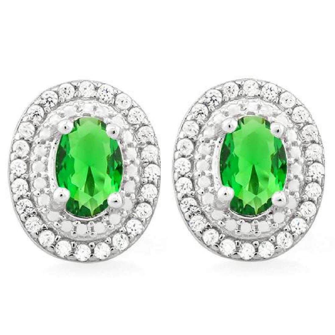ELEGANT OVAL 1CT EMERALD QUARTZ CLASSIC EARRINGS