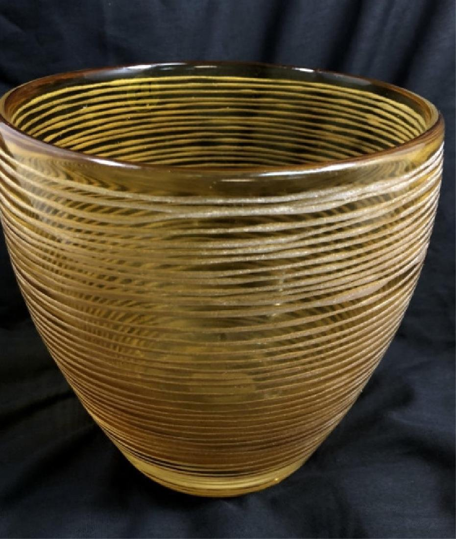 ELEGANT ETCHED LINES AMBER GLASS ICE BUCKET