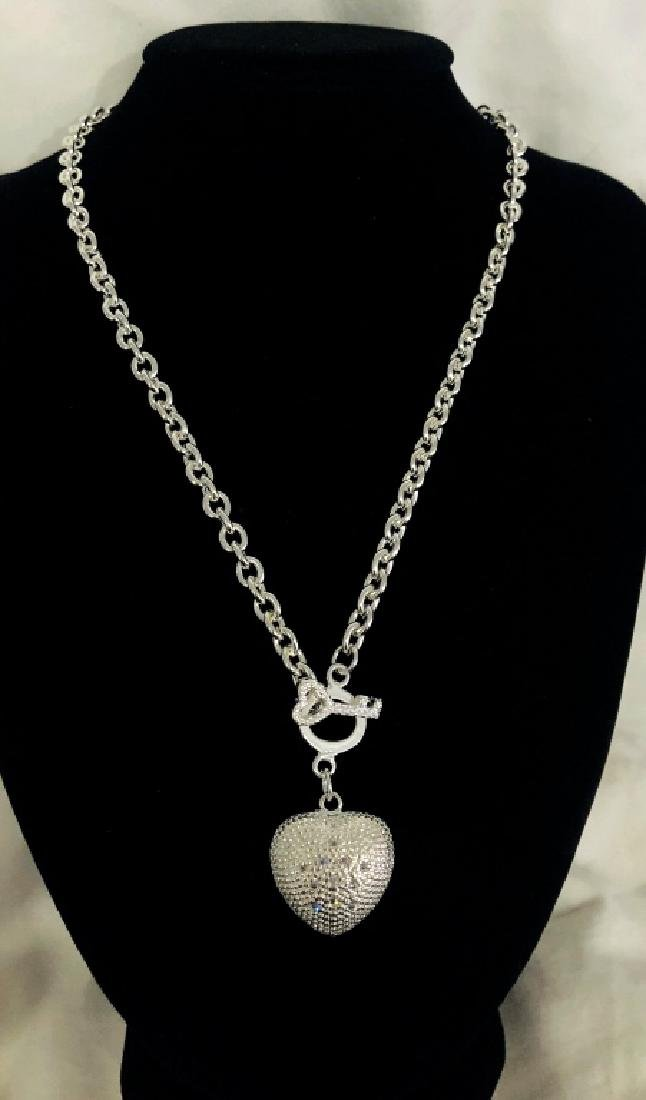 PRETTY HEART CHARM STERLING SILVER LADIES NECKLACE