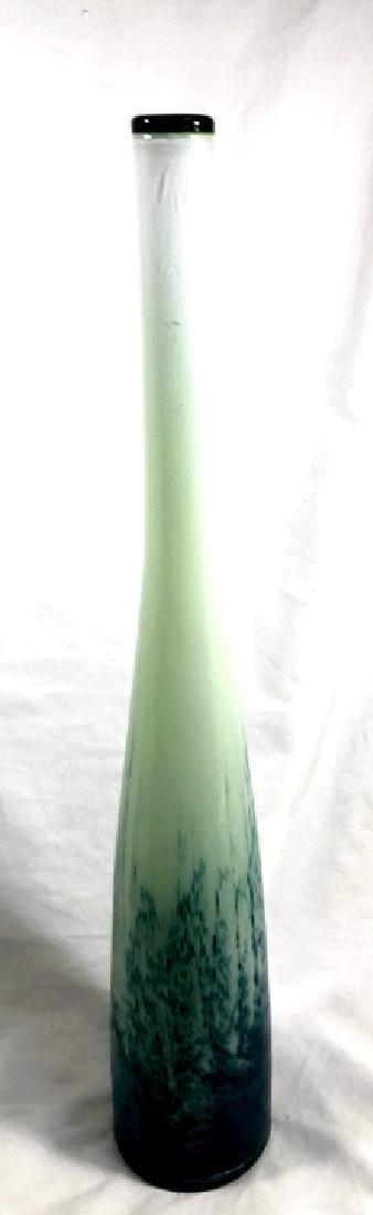 ELEGANT TALL TEAL/PEARL/GREEN SPECKLE MURANO VASE