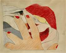 TOM WESSELMANN OIL PASTEL ON PAPER V32000