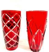 BEAUTIFUL RUBY CUT GLASS PAIR OF VINTAGE VASES