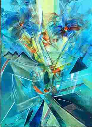 ROBERTO MATTA ABSTRACT OIL ON CANVAS PAINTING V$12,000