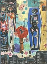 JEAN MICHEL BASQUIAT MIXED MEDIA ON PAPER ABSTRACT