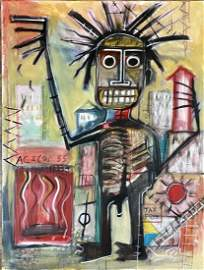 JEAN MICHEL BASQUIAT OIL ON CANVAS ABSTRACT V$48,000