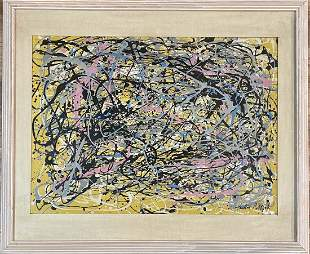 JACKSON POLLOCK ABSTRACT OIL ON PAPER PAINTING V$40,000